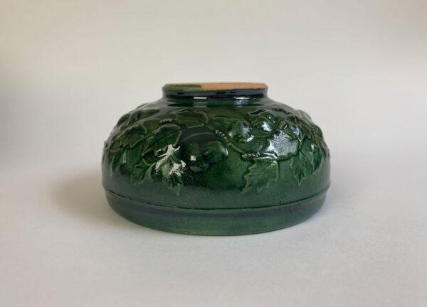Vaso verde bellotas vidriado